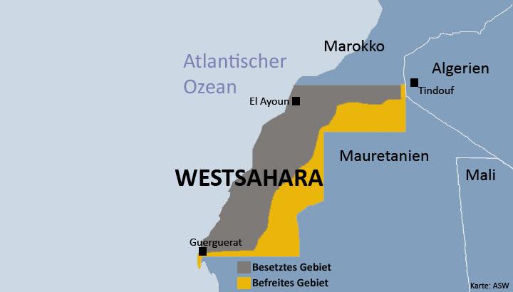 Karte der Westsahara - besetztes und befreites Gebiet