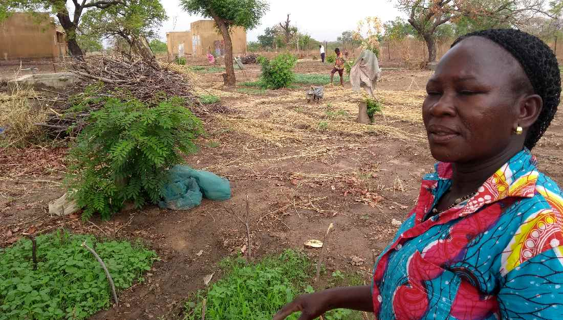 Bäuerin in agrarökologischem Garten
